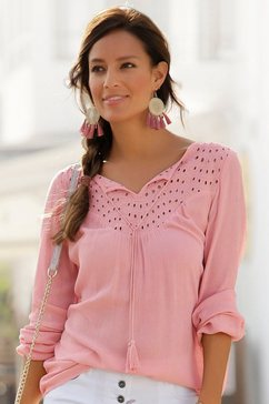 lascana crêpe-blouse met broderie anglaise roze