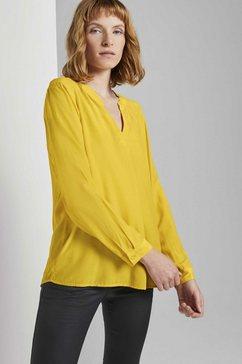 tom tailor blouse met lange mouwen »bluse mit rueschendetail« geel