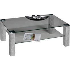 pro line salontafel met heldere glasplaat, rechthoekig