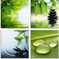 artland print op glas blaadjes water zen steenpiramide druppel (4 stuks) groen