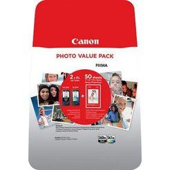 canon inktpatroon pg-560xl -cl-561xl en fotopapier voordeelset (set) multicolor