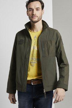 tom tailor functioneel jack moderne jas in een mix van materialen groen
