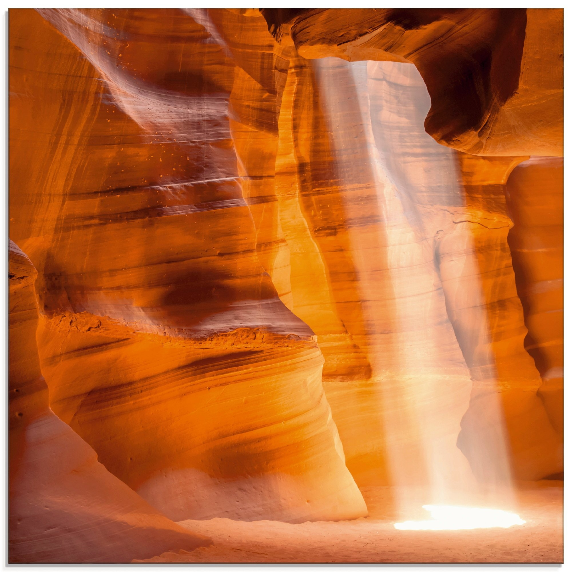 Artland print op glas »Antelope Canyon - Lichtsäule« - gratis ruilen op otto.nl