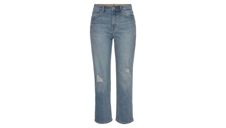 s.Oliver high-waist jeans Karolin met coole destroyed effecten, straight fit, cropped