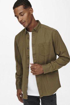 only  sons overhemd met lange mouwen bryce life reg organic shirt beige
