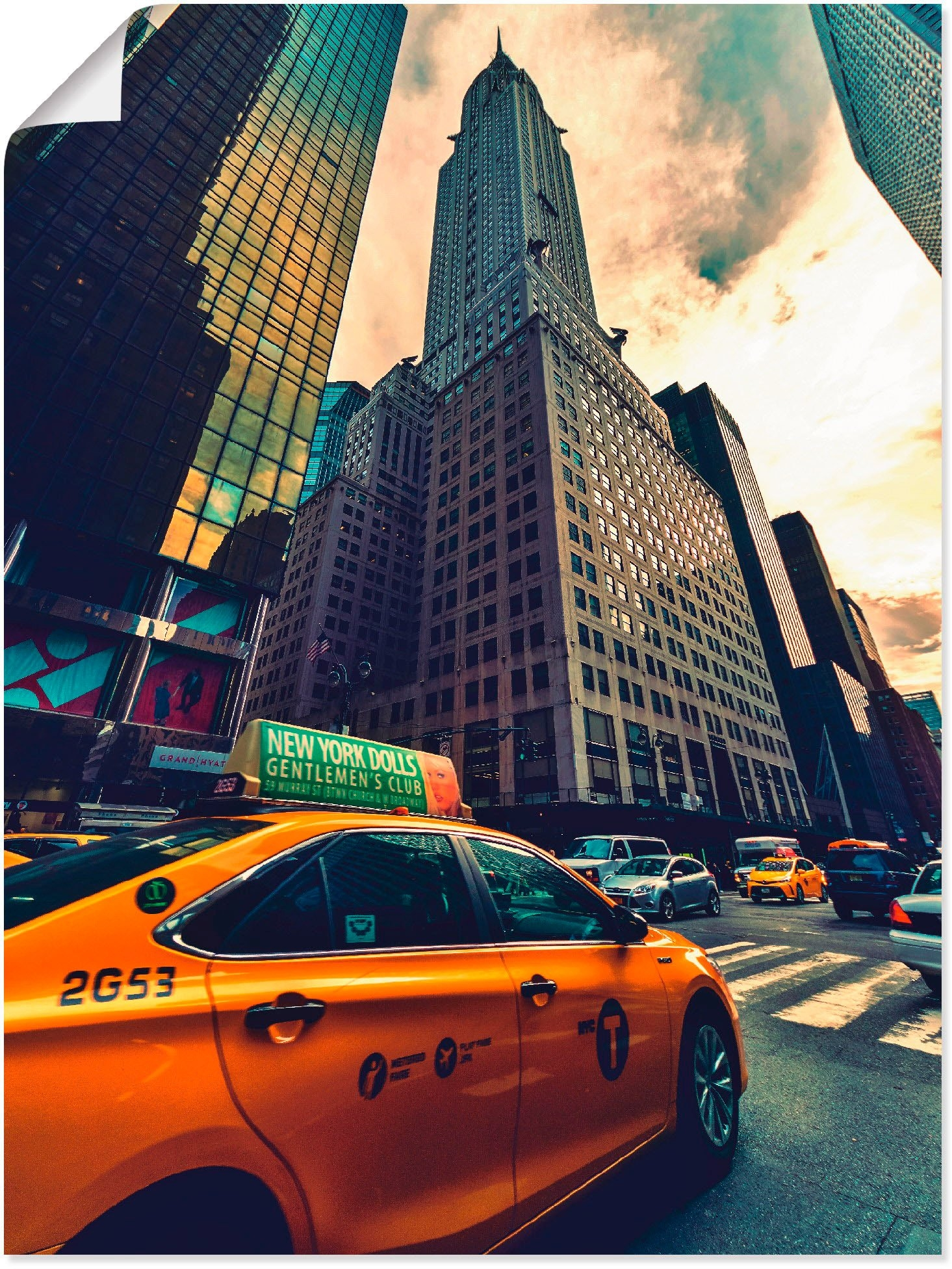 Artland artprint Taxi in New York in vele afmetingen & productsoorten -artprint op linnen, poster, muursticker / wandfolie ook geschikt voor de badkamer (1 stuk) bij OTTO online kopen