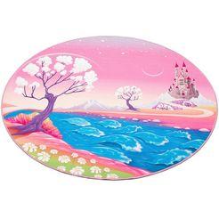 boeing carpet vloerkleed voor de kinderkamer sprookjesslot gedessineerd, motief sprookjeswereld, wasbaar multicolor