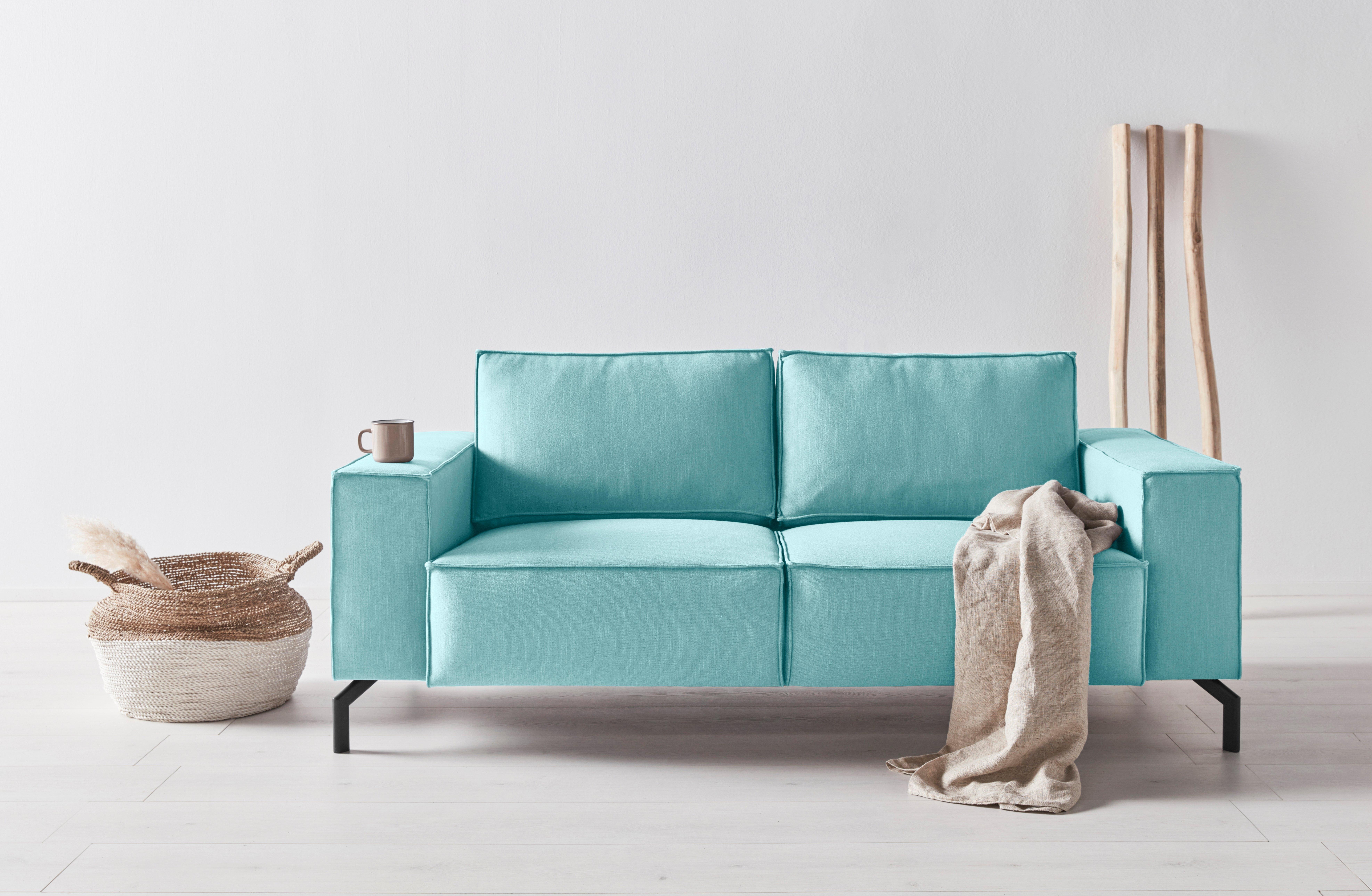 OTTO products 2,5-zitsbank Cilla Zitbreedte 150 cm, naar keuze fijne structuurstof van gerecycled polyester of duurzaam premium-leer met olijfbladlooiing nu online bestellen