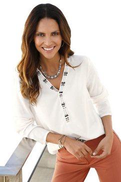 inspirationen blouse met siersteengarnering beige