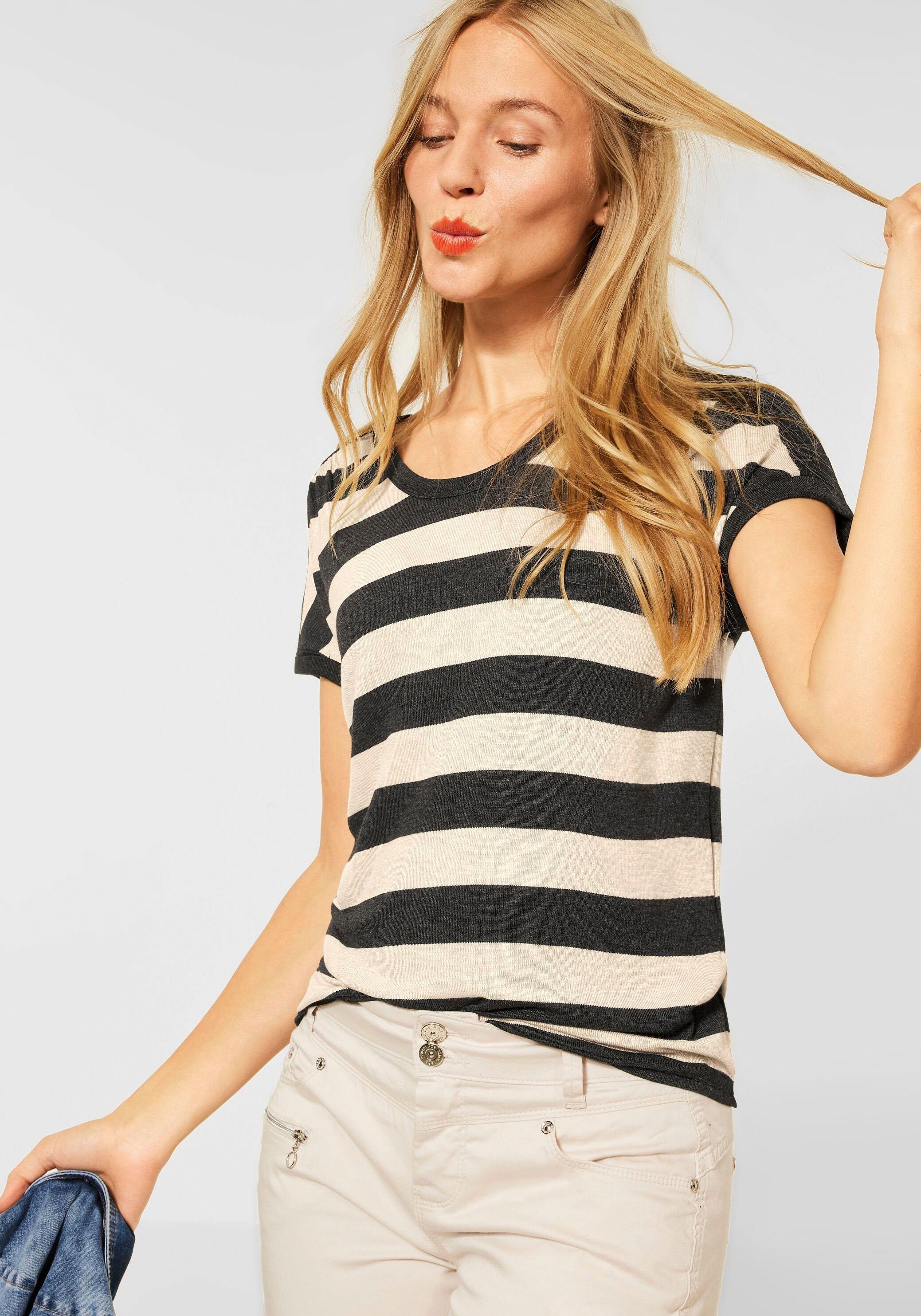 STREET ONE shirt met korte mouwen met streepdessin voordelig en veilig online kopen