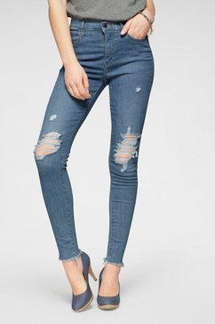 levi's skinny fit jeans 720 high rise super skinny met destroyed-effecten blauw