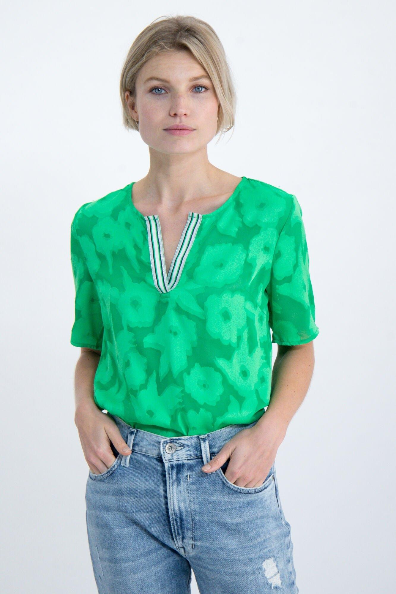 Garcia blouse met korte mouwen O00034 - 6721-mint leaf met all-over bloemendessin online kopen op otto.nl