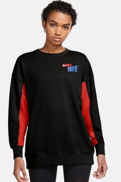 nike sweatshirt nike dri-fit get fit fleece graphic women's training crew zwart