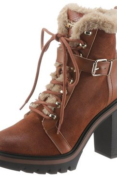tommy hilfiger highheel-laarsjes »tommy warm lined high heel boot« bruin