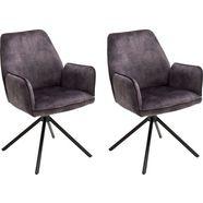 mca furniture eetkamerstoel ottawa met armleuning vintage suède-look met opstaande naad, stoel belastbaar tot 120 kg (set, 2 stuks) grijs