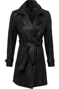 gipsy lange, leren jas taresa elegante leren trenchcoat met bindceintuur (2-delig, met een bindceintuur) zwart