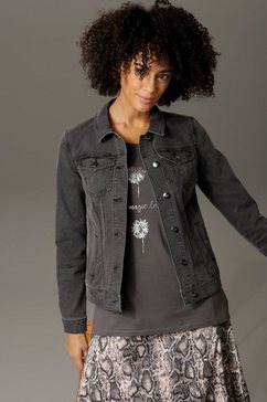 aniston casual jeansjack in trendy stone-wassing grijs
