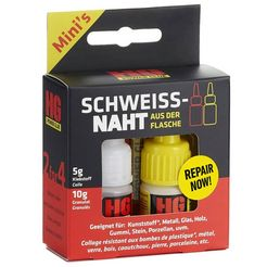 hg lijm powerglue de lasnaad uit een flesje, 5g-10g (2-delig) wit