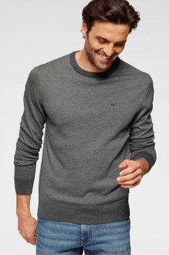 calvin klein trui met ronde hals »cotton silk c-neck sweater« grijs