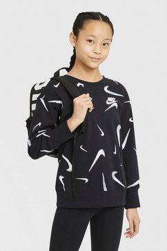 nike sweatshirt »g nsw ft aop bf crew big kids' (girls')« zwart