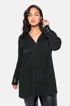 sheego blouse met lange mouwen met decoratieve deelnaden zwart