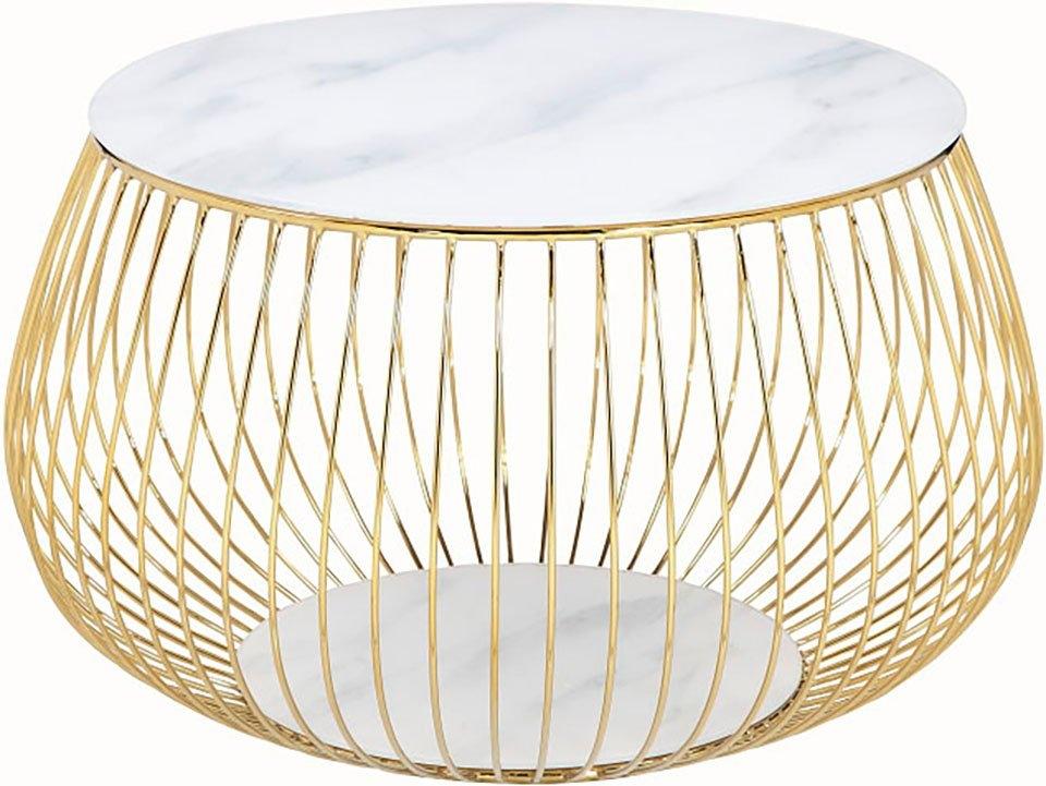 SalesFever salontafel Blad van kristalglas met marmerprint of rozegoudkleur bestellen: 30 dagen bedenktijd