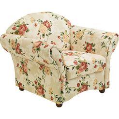 max winzer fauteuil carolina met houten bolpootjes, bloemen rood