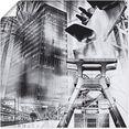 artland artprint essen skyline abstracte collage in vele afmetingen  productsoorten -artprint op linnen, poster, muursticker - wandfolie ook geschikt voor de badkamer (1 stuk) grijs