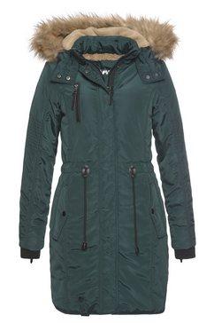 alpenblitz parka wintercharme met behaaglijk gevoerde capuchon en afneembaar imitatiebont aan de rand groen