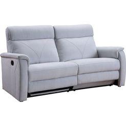 atlantic home collection 2-zitsbank stefan met een relaxfunctie, pocketveringskern en elegante siernaden grijs