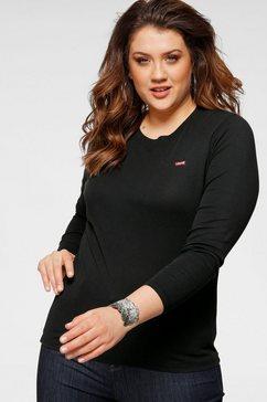 levi's shirt met ronde hals »ls baby tee« zwart