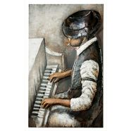 gilde gallery metalen artprint kunstobject rhythm and blues met de hand gemaakte 3d-artprint, 80x120 cm, van metaal, motief pianospeler, woonkamer (1 stuk) multicolor