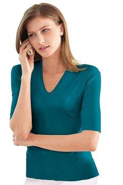 casual looks shirt met korte mouwen en v-hals blauw