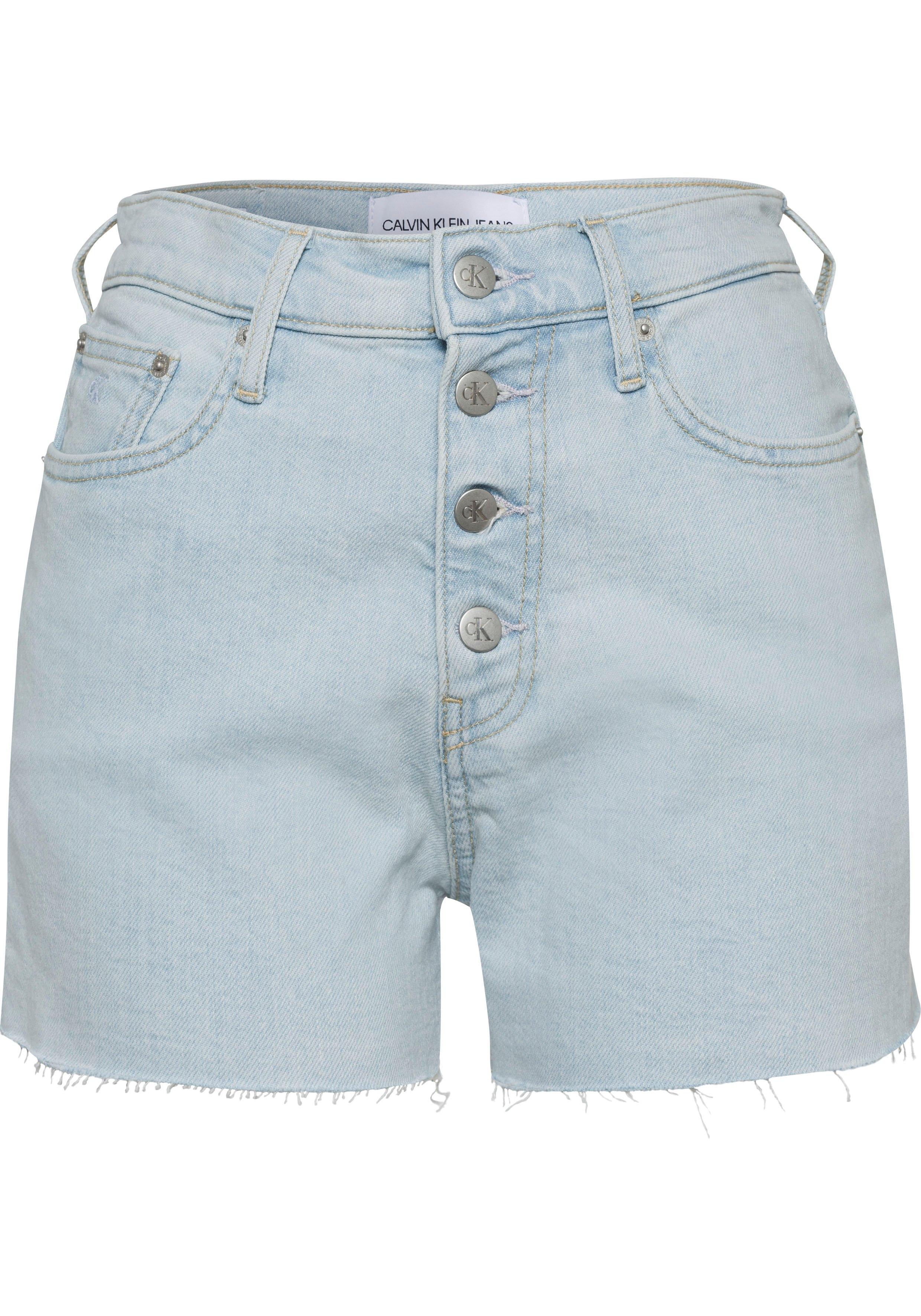Calvin Klein short HIGH RISE SHORT met zichtbare knoopsluiting en franjezoom in de webshop van OTTO kopen