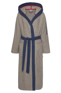 kangaroos uniseks badjas henry met kimonokraag en geborduurd logo (1 stuk) bruin