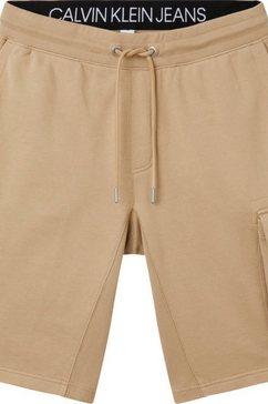 calvin klein sweatshort monogram patch hwk short beige