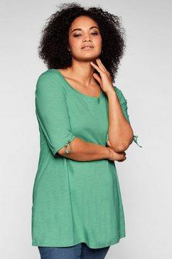 sheego lang shirt in a-lijn met sierstrik aan de mouwen groen