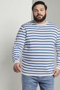 tom tailor men plus trui met ronde hals »gestreifter strickpullover« blauw