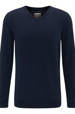 mustang trui met v-hals basic v-hals jumper blauw