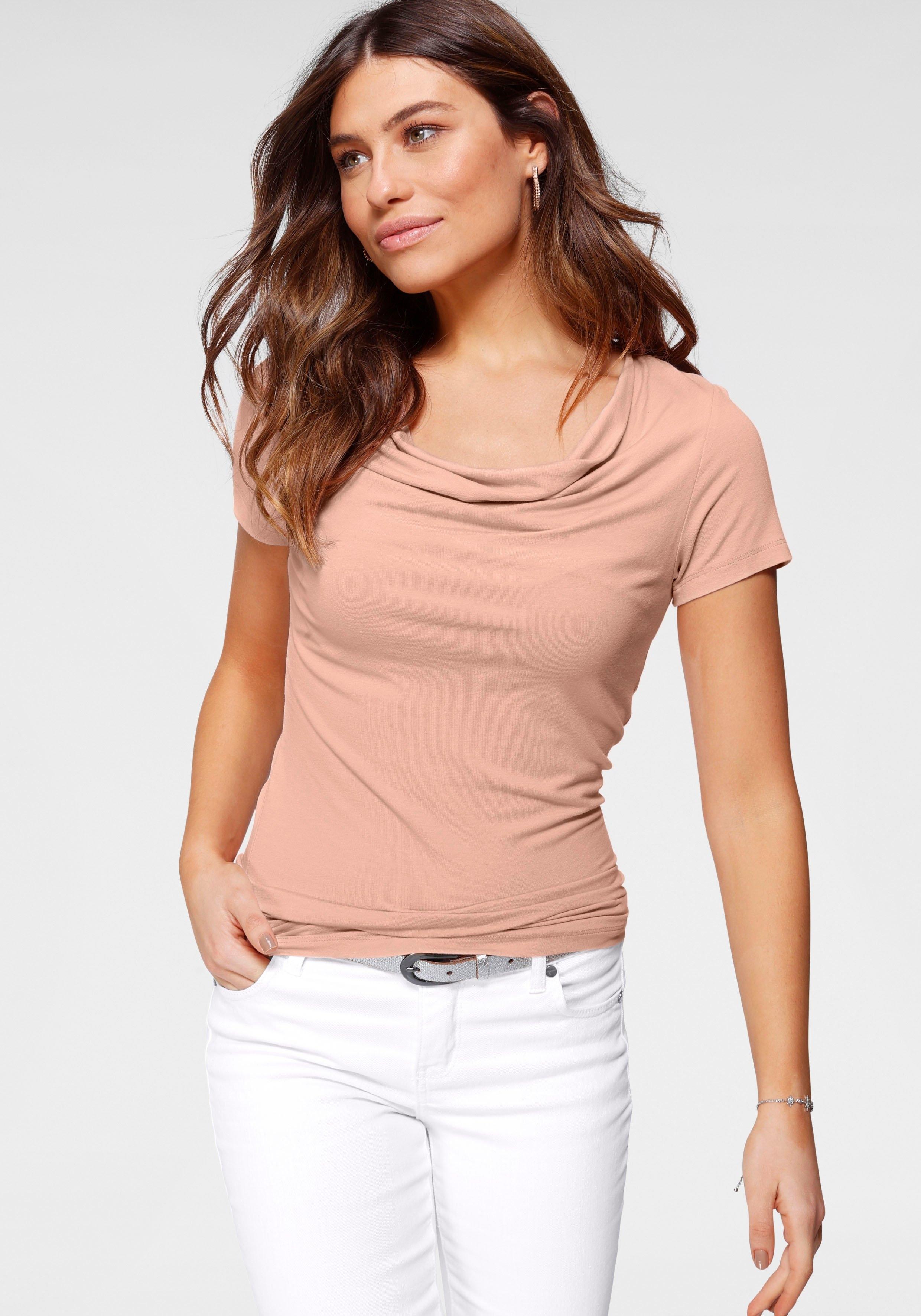Tamaris shirt met cascadehals nu online kopen bij OTTO