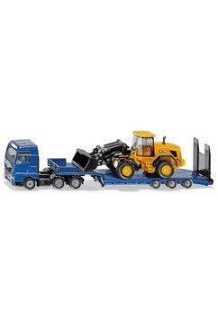 siku speelgoed vrachtwagen siku super, man met dieplader en jcb laadschop op wielen blauw