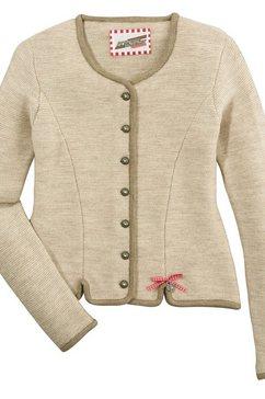 andreas gabalier kollektion vest in folklorestijl dames met geruite strik en harthanger met glinstersteentje beige