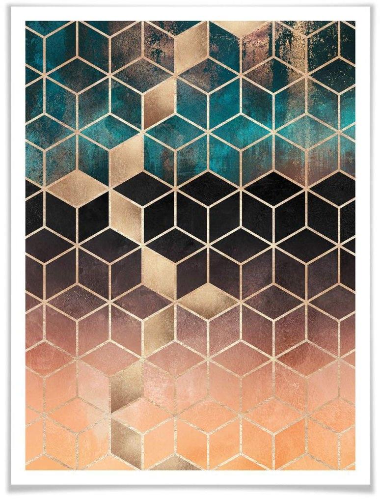 Wall-Art poster Goud groen geometrie (1 stuk) bestellen: 30 dagen bedenktijd