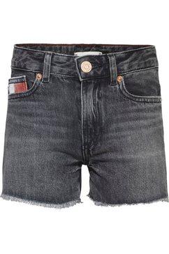 tommy hilfiger jeansshort harper short met franjezoom grijs