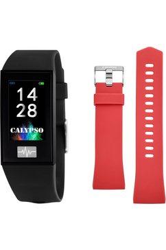 calypso watches smartwatch smartime, k8500-6 met wisselband (set, 2-delig, met rode wisselband) zwart