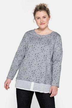 sheego sweatshirt met blousebeleg bij de zoom grijs