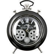 casablanca by gilde staande klok transmissie, zwart-zilverkleur wekkermodel, hoogte 25 cm, rond, romeinse cijfers, woonkamer (1 stuk) zwart
