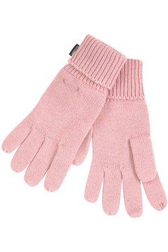 superdry gebreide handschoenen met merklogo, one size roze