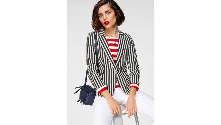 Tamaris korte blazer trendy marine-look – nieuwe collectie