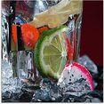 artland print op glas verse fruitcocktail iv (1 stuk) multicolor